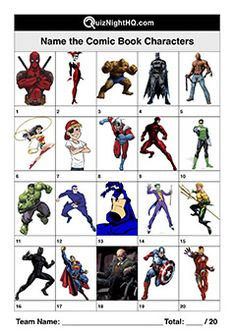 Na-na-na-na-na-na-na-na Batman! A great trivia picture round for fans of superheroes at your next quiz night. Comic Book Characters, Comic Books, Fictional Characters, School Fun, Middle School, Picses Facts, Quizzes And Answers, General Knowledge Quiz Questions, Christmas Quiz