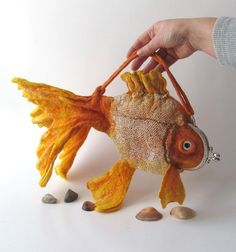 Felted fish purse cosmetic Golden  Fish  Yellow Red by galafilc, $65.00