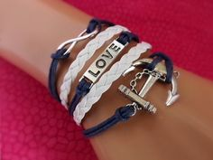 Infinity Love Anchor Bracelet in Navy & White - Navy/Sailor girlfriends love these! by ZodiacGirls, $7.99