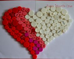 Simple heart created with plastic bottle caps and tape !