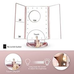 Tri Fold Vanity Mirror With Lights Gorgeous Amazon Lighted Vanity Mirror Led Lighted Trifold Makeup Mirror Decorating Inspiration
