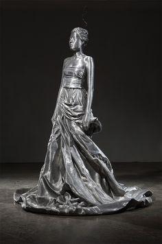 Meticulosamente Envolvido Alumínio Esculturas fio POR Seung Mo Parque escultura de arame