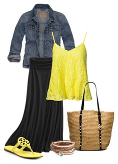 maxi skirt & yellow crochet by dreaminmint on Polyvore featuring polyvore, fashion, style, NLY Trend, Hollister Co., Merona, Tory Burch, MICHAEL Michael Kors and Chan Luu