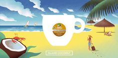 Davide Bonazzi - Coconut blend. Client: Keurig Green Mountain Coffee. #advertising #illustration #coffee #food #tropical #coconut #island #holiday #beach #sea #palms #sky www.davidebonazzi.com