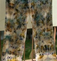 trousers of cotton  -  eco dyeing hand made, eco printing
