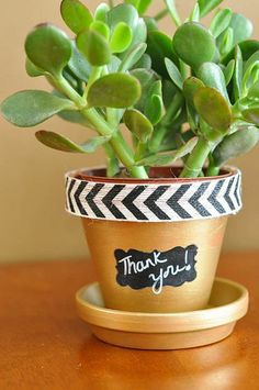 Flower Pots With Chevron trim and Chalkboard Labels