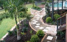 24 Small Sloped Backyard Landscaping Ideas for Best Backyard Inspiration Sloped Backyard Landscaping, Small Backyard Gardens, Backyard Garden Design, Landscaping Tips, Backyard Ideas, Backyard Decorations, Garden Kids, Rustic Backyard, Family Garden