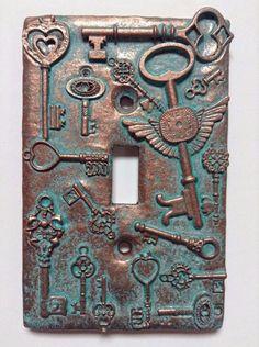 Keys (Steampunk) Stone/Copper/Patina Light Switch Cover (Custom) (Copper/Patina)