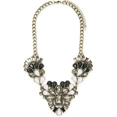 Forever 21 Clustered Faux Gem Necklace (42 BRL) ❤ liked on Polyvore featuring jewelry, necklaces, tear drop necklace, fake jewelry, gemstone statement necklace, forever 21 and bib statement necklace