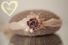 Gorgeous Baby Headtie headband newborn Rustic Lace w Earthy burlap pearl drops baby photo shoots newborn baby fits all delicate SHIPS FREE*
