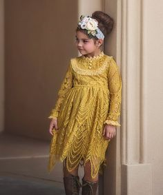 Look at this #zulilyfind! Mustard Lace-Accent Abigail Dress - Infant, Toddler & Girls #zulilyfinds