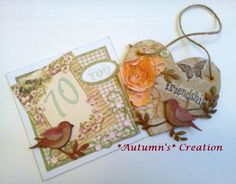 My handmade creations for a dear friend on Pinterest....SU Punch for bird and handmade flowers, Greyboard heart distressed and stamped using SU ink.