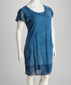 Take a look at this Indigo Lace Plus-Size Cap-Sleeve Dress by Raya Sun on #zulily today! $19.99, regular 36.00