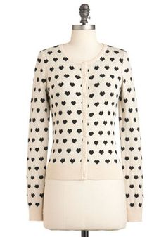 Best Heart About It Cardigan. Theres so much to love about your outfit today, from your bow-necked blouse to your denim circle skirt. #cream #modcloth