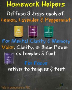 Back to school help with essential oils to help with homework. Focus with valor, brain power, clarity. Clarity Essential Oil, Valor Essential Oil, Essential Oils For Kids, Essential Oil Diffuser Blends, Doterra Essential Oils, Young Living Essential Oils, Yl Oils, Doterra Oil, Young Living Oils