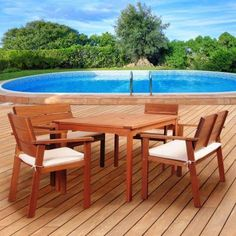 Amazonia Nelson 5 Piece Rectangular Eucalyptus Patio Dining Set With  Striped Beige And Off White Cushions