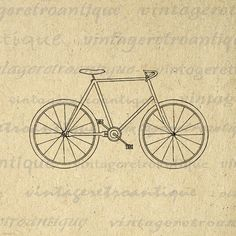 Digital Graphic Antique Bicycle Image Bike Outline Download Printable Vintage Clip Art. High quality digital graphic image. This printable digital image download can be used for making prints, transfers, pillows, t-shirts, and other great uses. Great for use on etsy items. This digital image is large and high quality, size 8½ x 11 inches. Transparent background version included with all images.