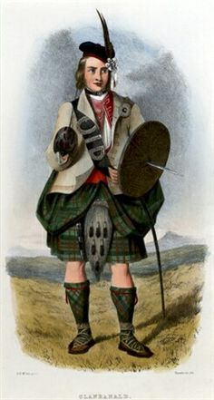 A MacDonald of clan Ranald. Born in 1803, Robert Ronald McIan, an actor, became enthralled with tartans. McIan was also something of a painter and with the encouragement of his friend James Logan, utilised those skills to produce The Clans of the Scottish Highlands. Which resulted in 72 paintings in total.