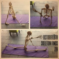 Skeleton learns yoga | Halloween Countdown with Skeleton October 18, 2013 - Dinky Cow