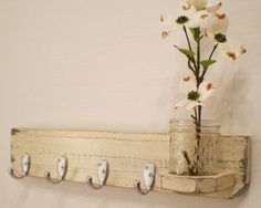 Shabby Chic-french Country-distressed-primitive Wooden Wall Hanger-brushed…