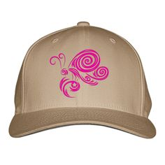 Pink Butterfly Embroidered Baseball Cap