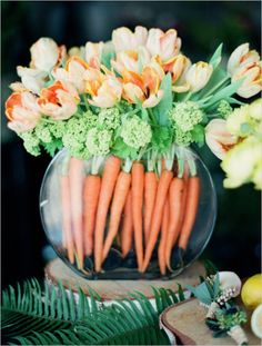 Easter table setting, Easter tablescape, Easter decor, Easter bouquet, Orange tulips and carrot arrangement for a funky addition to your dinner or reception table. Captured By: Kirill Bordon Easter Flowers, Spring Flowers, Flowers Garden, Fresh Flowers, White Flowers, Cascading Flowers, Valentines Flowers, Orchid Flowers, Simple Flowers