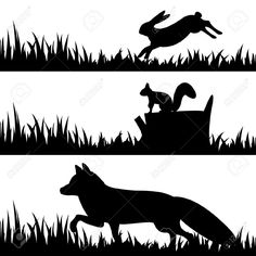 squirrel: Vector set silhouettes of animals in the grass