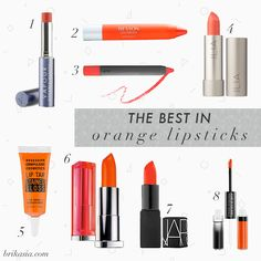 orange lipsticks for spring, summer coral lips, red orange lipstick, nars heat wave, occ lip tar stained gloss