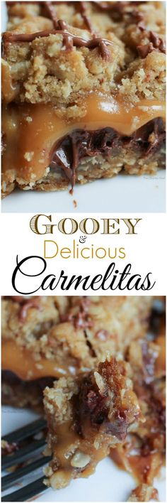 Gooey and Delicious Carmelitas - The perfect sweet treat for any occasion. these carmelitas are full of sweet oats, luscious chocolate and decadent melted caramel! Cookie Desserts, Sweet Desserts, Easy Desserts, Sweet Recipes, Delicious Desserts, Yummy Food, Delicious Chocolate, Caramel Recipes, Brownie Recipes