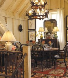 cozy cottage-style dining room set up under the eaves of this home Rustic Cottage, Cozy Cottage, Cottage Style, Cottage Living, Cottage Homes, Deco Champetre, Sweet Home, Cabins And Cottages, Home And Deco
