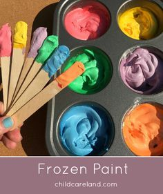 Easy to make frozen paint for toddlers and preschool.  We had a lot of fun making the paint and then painting with it outside.