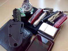 Buff BandanaMintsWatchVictorinox HuntsmanOlight A2 SSKeys with maglite & wenger Cigarette caseZippo Black Ice WalletEsee IzulaIpod Touch...