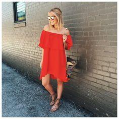 Courtney Kerr   Red Ruffle Off The Shoulder Asymmetrical Dress -SheIn(Sheinside) Mobile Site $14.99