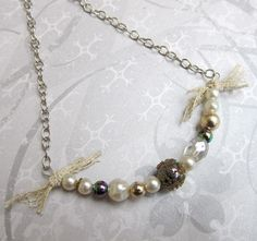 Necklace, vintage, lace, aurora borealis, gold, silver, upcycled | wingsofflutter - Jewelry on ArtFire