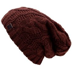 23611349aca Brown Oversize Slouchy Cable Knit Unisex Beanie Cap Hat (4.115 HUF) ❤ liked  on