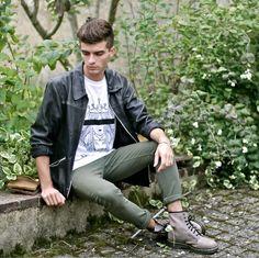 Leather Jacket, Numérology Clothing Artemis T Shirt, Asos Khaki Jeans, Dr. Martens Snake Boots, My Little Fantaisie Silver Bangle  #mensfashion #fallfashion
