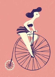 Art Print d'une fille une bicyclette vintage par CarolinaBuzio