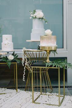 Trio of Chic Modern Wedding Cakes by Sweet Cheeks Baking Co. | John Schnack Photography | http://heyweddinglady.com/succulents-sparkles-stripes-modern-socal-wedding/