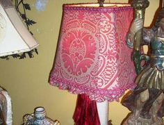 Old World Style Fortuny Lampshade made by Studio Veneto ~ Orsini Raspberry Red with Ruffle Medium Size —Available at studioveneto.com