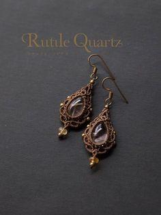 awesome Macrame earrings rutile quartz (Brazil) STONES SPIRIT Stone × macrame × healin...