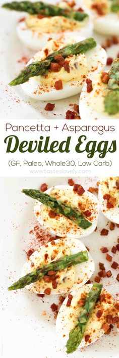 Pancetta and Asparagus Deviled Eggs (Paleo, Gluten Free, Low Carb, Whole30 Appetizer)