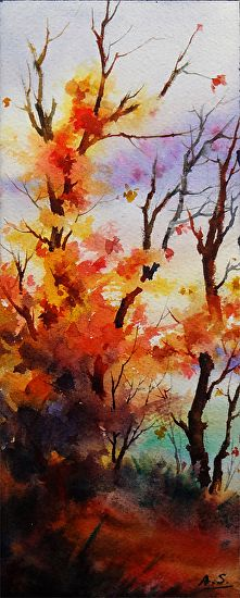 Bon Fire by Arena Shawn Watercolor