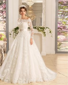Luxury Ivory Vintage Boat Neck Beaded Lace A Line Wedding Dress 2016 Women Long Sleeve Wedding Dresses With Sash Cheap Bridal Gowns !!                                                                                                                                                                                 More