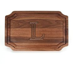 "BigWood Boards W320-L Carving Board Carving Board with Juice Well Large Personalized Cutting Board with Juice Groove Walnut Serving Platter ""L"""