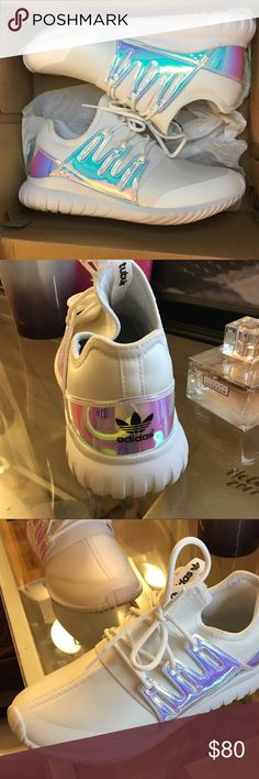 Adidas tubular white/iridescent Bought December 2016 and only worn once. They are in perfect condition size 6 in women's. adidas Shoes Sneakers