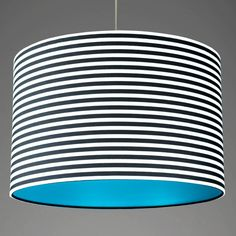Large Deep Black And White Stripes With Aqua Green Lining