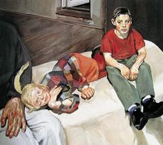 Polly, Barney and Christopher Bramham, (oil on canvas) Sigmund Freud, Lucian Freud Paintings, Antoine Bourdelle, Chaim Soutine, Artists And Models, Berlin, Jackson Pollock, Figure Painting, Figurative Art