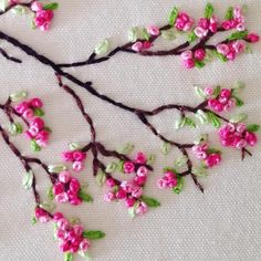 Welcome Springtime  #handembroidery #frenchknots #sakura #cherryblossom #dsfloral #pink #floralembroidery #abmspring #dmcembroidery…