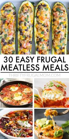 These cheap meatless meals are perfect for stretching your grocery budget! They're easy and perfect for family dinners. And they're so delicious that you won't even miss the meat! #thriftyfrugalmom #meatlessdinner #meatlessmeals Cheap Vegetarian Meals, Healthy Family Meals, Cheap Meals, Nutritious Meals, Vegetarian Recipes, Easy Meals, Healthy Recipes, Cheap Easy Dinners, Cheap Family Dinners
