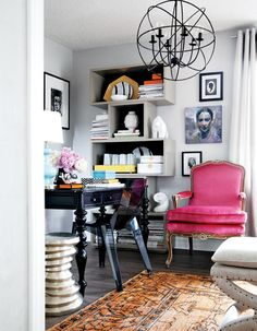 love the pink chair, shelving, black desk and orb chandelier home office Home Office Space, House Design, Home Decor Inspiration, Decor, Home, Interior, Home Office Decor, Home Decor, Office Design
